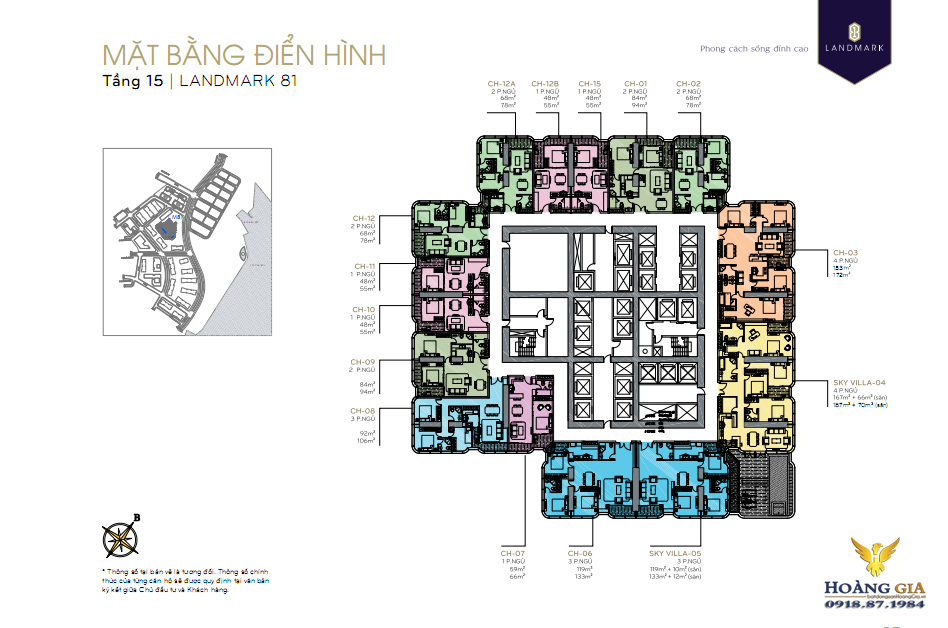 Mặt bằng tầng 15 Vinhomes Central Park