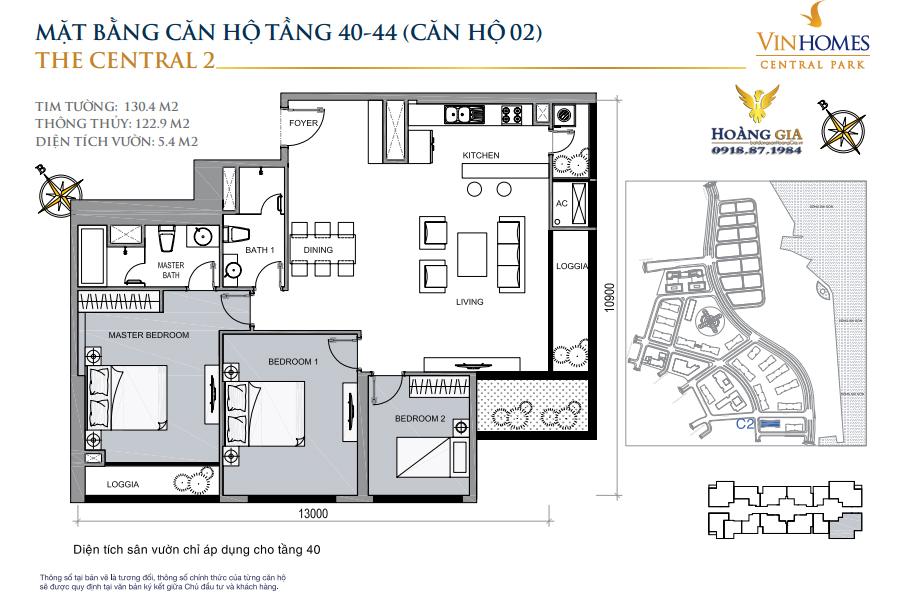 Căn hộ số 02 tầng 40 - 44 Vinhomes Central Park