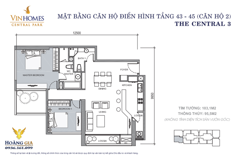 Căn hộ số 02 tầng 43 - 45 Vinhomes Central Park