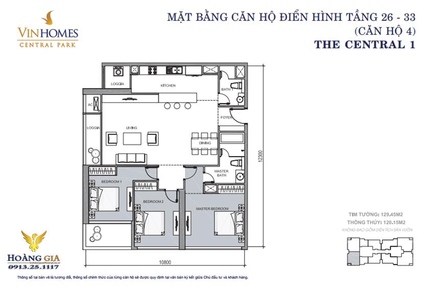 Căn hộ số 04 tầng 26 - 33 Vinhomes Central Park