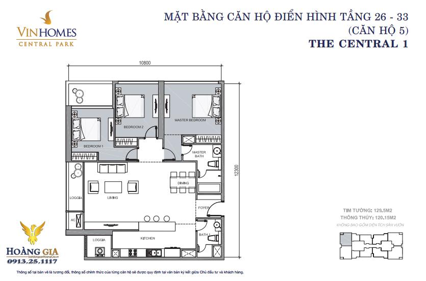 Căn hộ số 05 tầng 26 - 33 Vinhomes Central Park