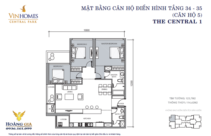 Căn hộ số 05 tầng 34 - 35 Vinhomes Central Park