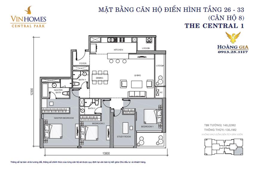 Căn hộ số 08 tầng 26 - 33 Vinhomes Central Park