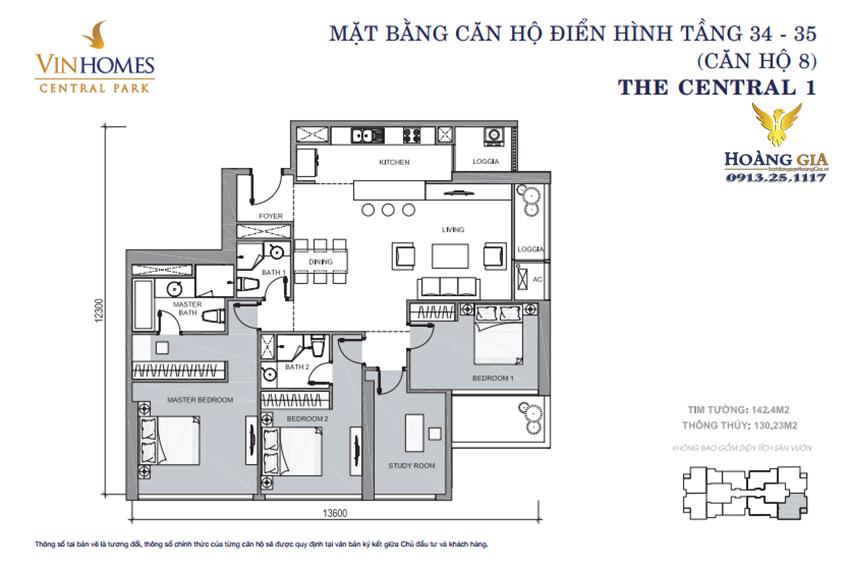 Căn hộ số 08 tầng 34 - 35 Vinhomes Central Park