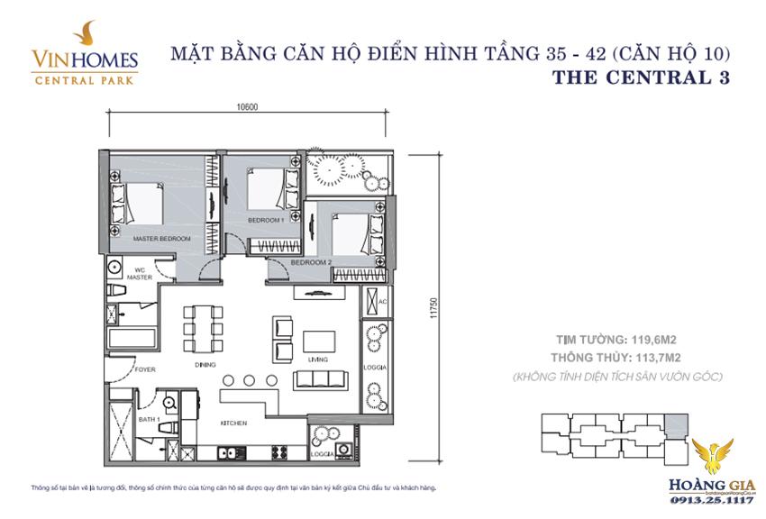 Căn hộ số 10 tầng 35 - 42 Vinhomes Central Park