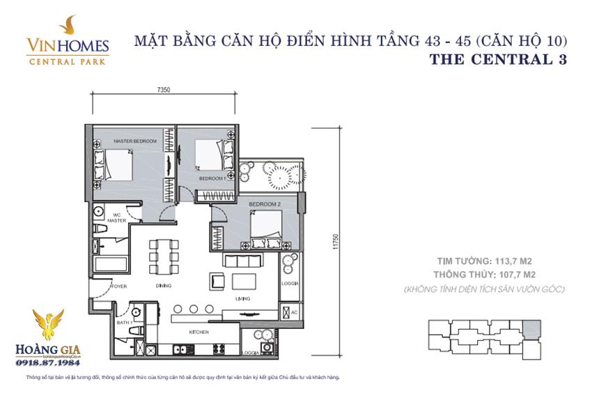 Căn hộ số 10 tầng 43 - 45 Vinhomes Central Park