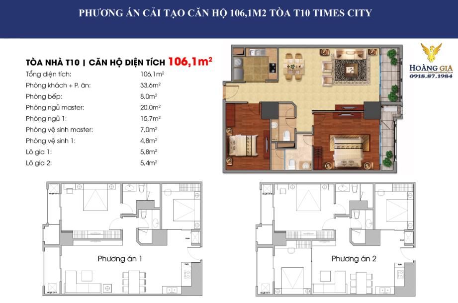 Căn hộ 106,1 m2 vinhomes times city