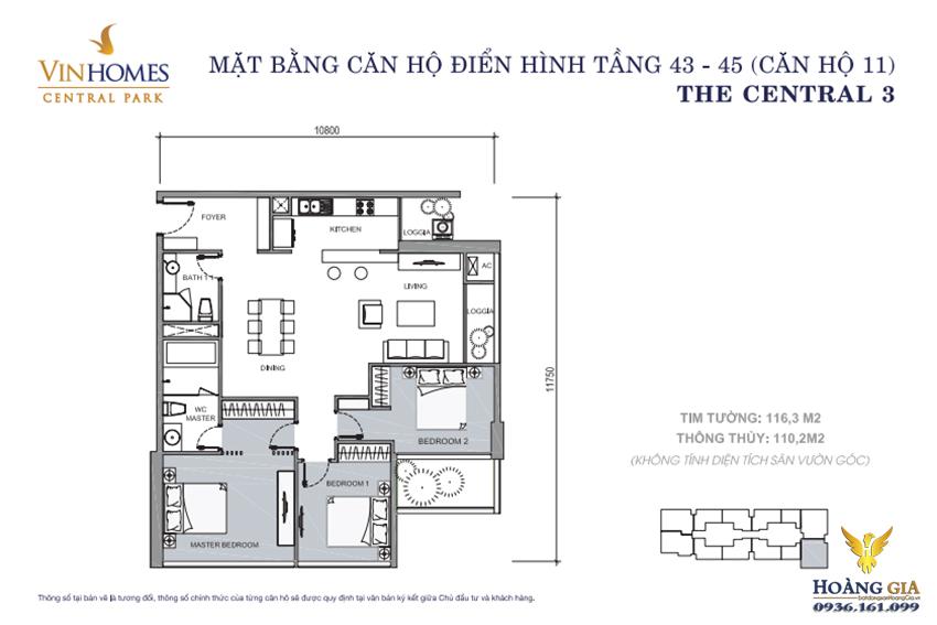 Căn hộ số 11 tầng 43 - 45 Vinhomes Central Park