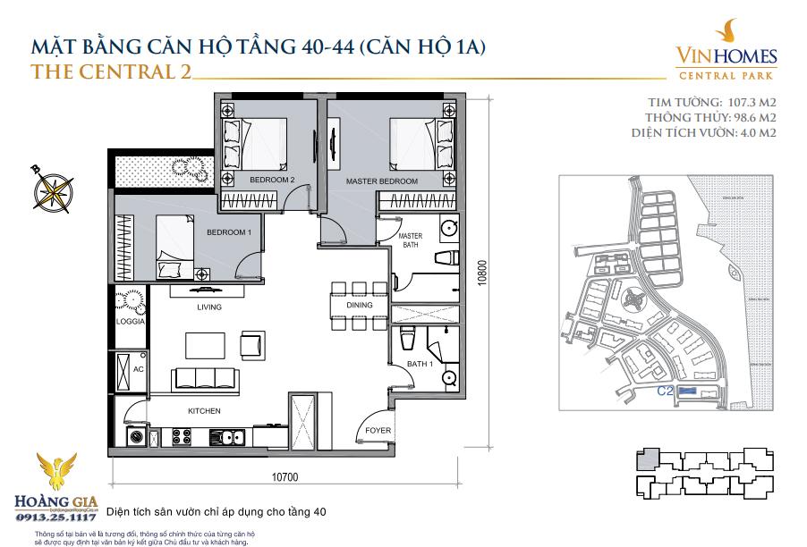 Căn hộ số 1A tầng 40-44 Vinhomes Central Park