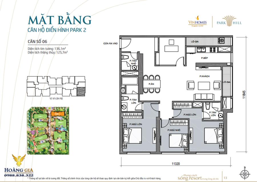 Căn hộ số 06 Vinhomes Times City – Park Hill