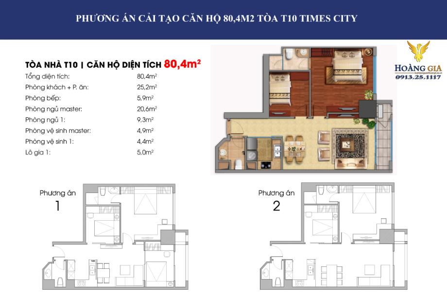Căn hộ 80,4 m2 vinhomes times city