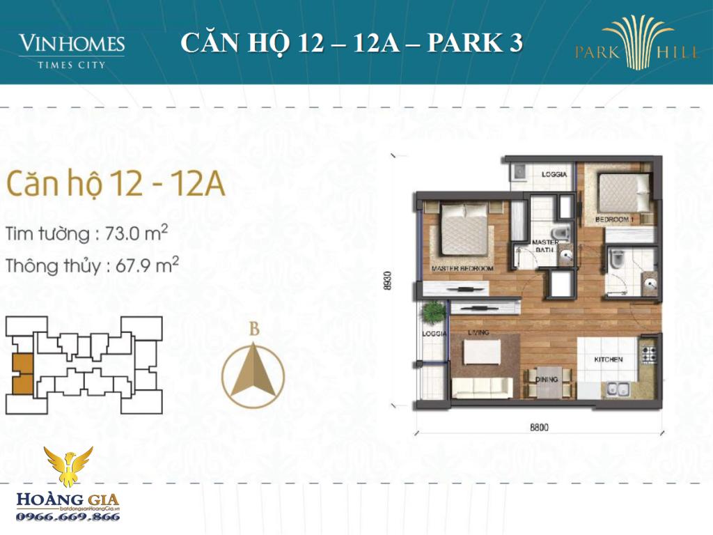 Căn hộ số: 12 và 12A Vinhomes Times City - Park Hill