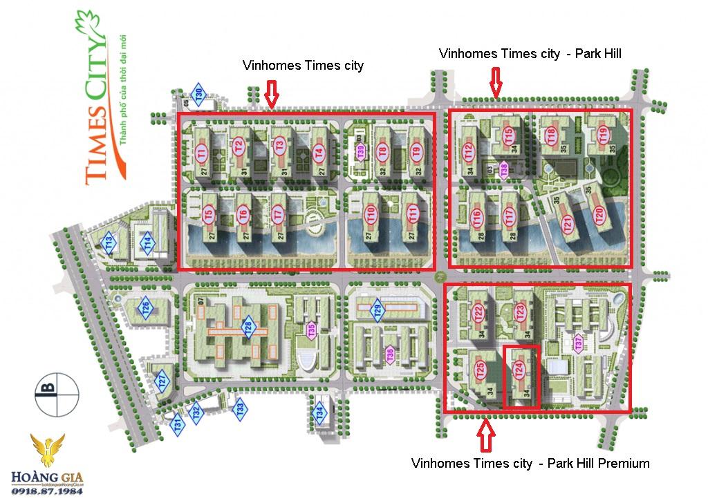 Mặt bằng tổng thể Vinhomes Times city  - Park Hill Premium