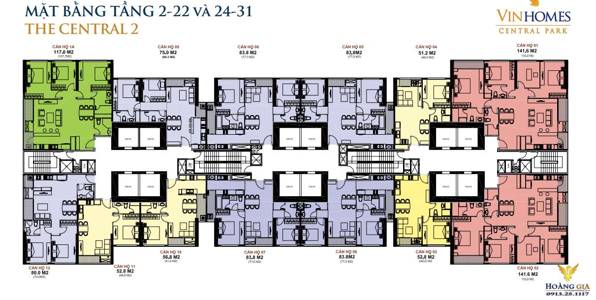 Mặt bằng tầng 2 - 22 và 24 - 31 Vinhomes Central Park
