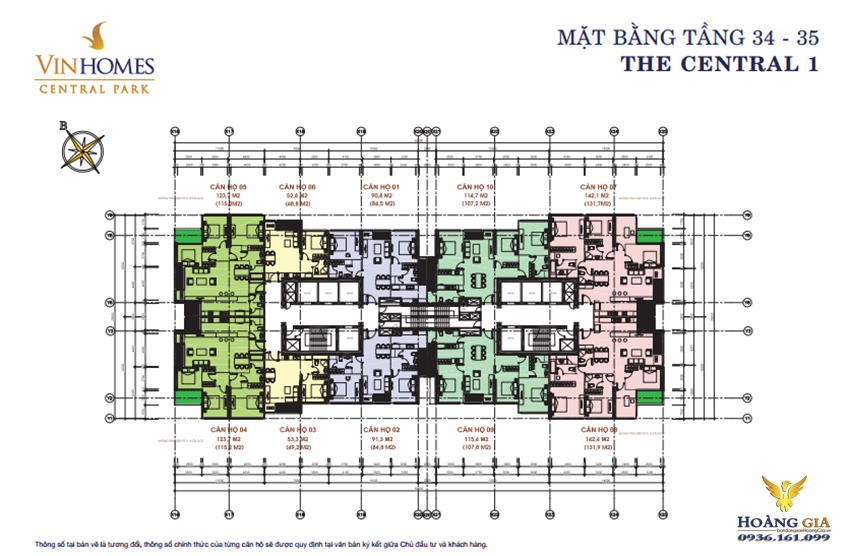 Mặt bằng tầng 34 - 35 Vinhomes Central Park