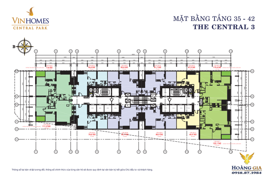 Mặt bằng tầng 35 - 42 Vinhomes Central Park