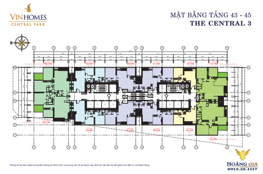 Mặt bằng tầng 43 - 45 Vinhomes Central Park