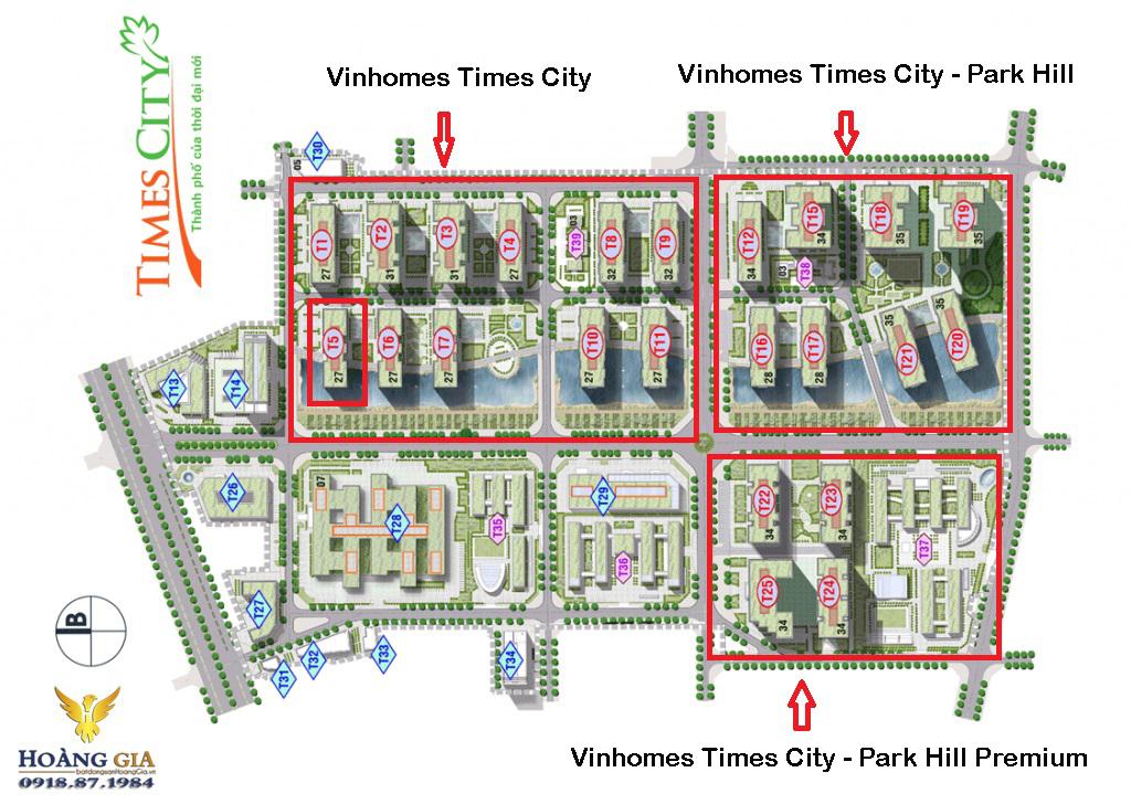 Mặt bằng tổng thể của Vinhomes Times City
