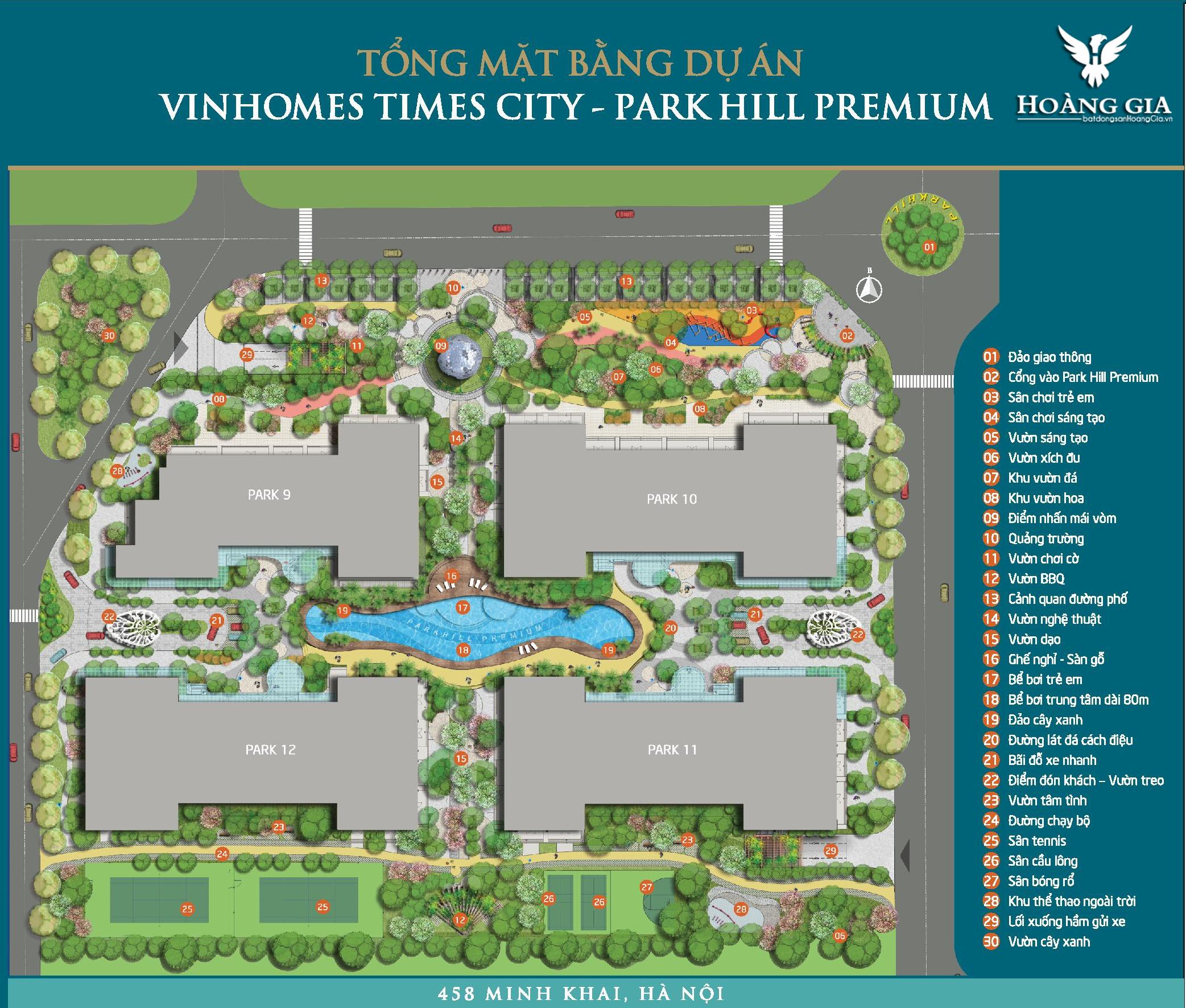 Mặt bằng tổng thể Vinhomes Times City Park Hill Premium