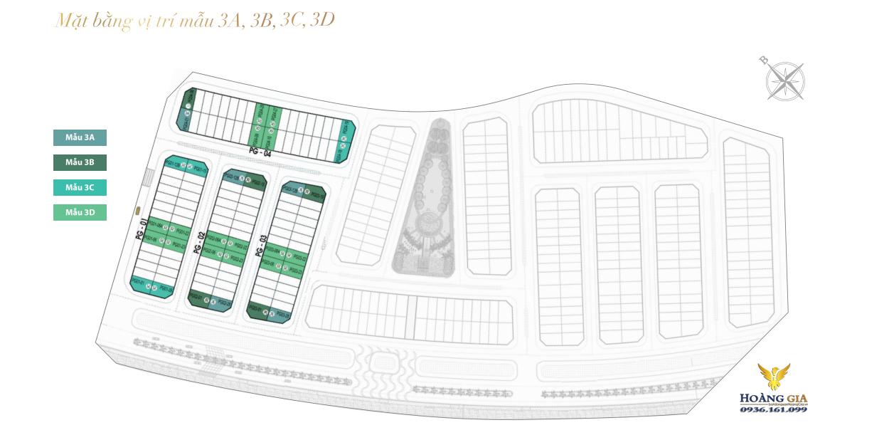 mặt bằng vị trí mẫu 3A, 3B, 3C và 3D Khu Phú Gia Vinhomes Dragon Bay