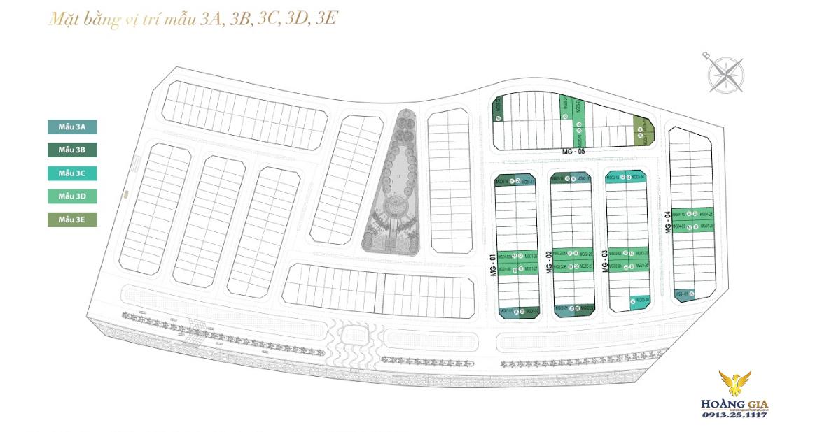 Mặt bằng mẫu vị trí 3A, 3B, 3C, 3D và 3E khu Mỹ Gia Vinhomes Dragon Bay
