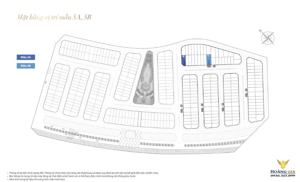 Mặt bằng mẫu vị trí 5A và 5B khu Mỹ Gia Vinhomes Dragon Bay